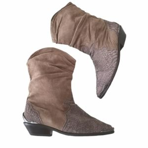 Vtg ZODIAC Boots Suede Leather Slouch Western